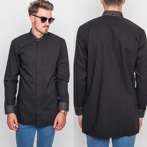 【GT】FairPlay Pike 黑藍白 長袖襯衫 素面 棉質 修身 休閒 正式 商務 長版 彈性 美牌 現貨 前短後長