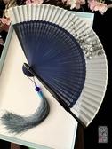 摺扇中國風禮品綾絹便攜隨身扇舞蹈扇表演扇夏水墨摺扇子古風鏤空男女 新品