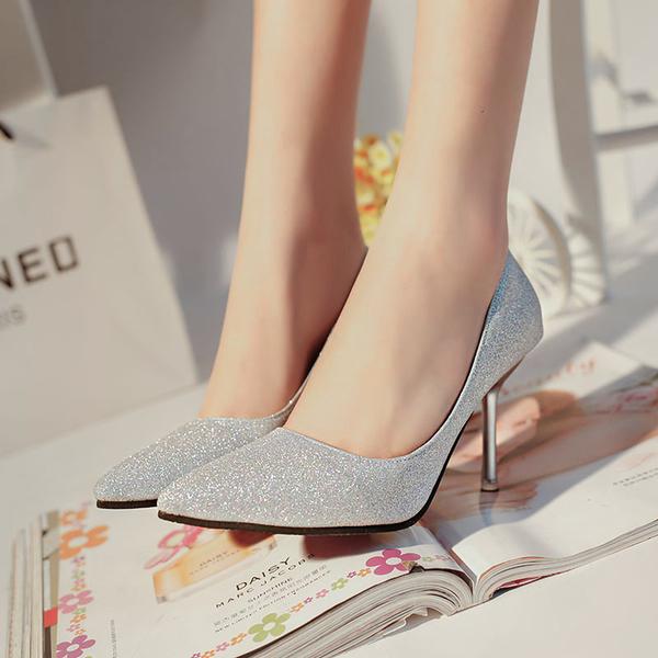 細跟鞋 新款韓版女鞋銀色亮片尖頭高跟鞋中跟磨砂淺口單鞋 - 古梵希