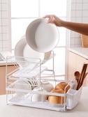 廚房放碗碟置物架黑色雙層盤子廚具整理瀝水架籃晾碗筷收納架YYJ 青山市集