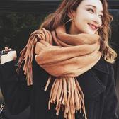 圍巾 韓版純色長款百搭披肩兩用加厚保暖圍脖