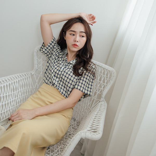 MIUSTAR 可愛線條配色短版格子棉麻襯衫(共3色)【NH1362】預購