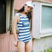 泳裝 比基尼 泳衣 字母條紋露背顯瘦甜美連身泳衣【SF1715-3】 icoca  04/13