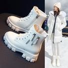 內增高馬丁靴女2021年新款春秋季百搭新款英倫風小個子爆款短靴女一米陽光