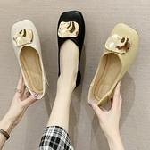 豆豆鞋 2021年春夏新方頭懶人單鞋女淺口平底奶奶鞋復古風軟皮舒適豆豆鞋 童趣屋 免運