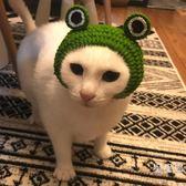 貓咪青蛙頭套寵物變裝帽寵物手工編制毛線帽子幼貓頭套