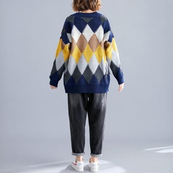 大尺碼 大碼女裝胖mm顯瘦針織衫外套女秋裝2019新款寬鬆韓版開衫毛衣減齡  快速出貨