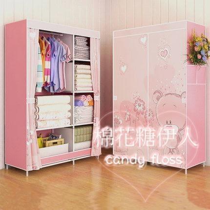 加厚無紡拉鏈款防塵塑料組裝經濟型櫃子LVV2578【棉花糖伊人】
