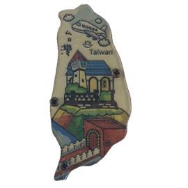 【收藏天地】台灣紀念品*寶島造型木質冰箱貼-台灣旅遊