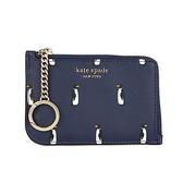 KATE SPADE L型拉鍊印花防刮皮革卡夾證件夾鑰匙圈(海軍藍)