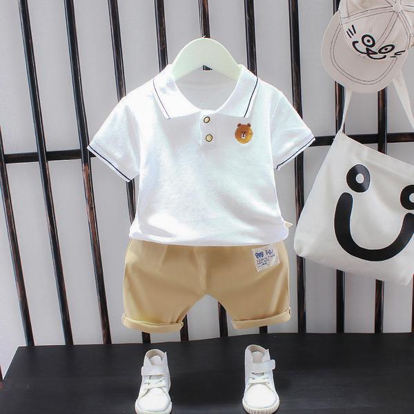男寶寶夏裝套裝2021新款嬰兒童裝洋氣男童夏季短袖POLO衫兩件套潮面料柔軟
