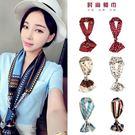 絲巾 新款裝飾百搭小圍巾女韓國印花短絲巾綢緞領巾