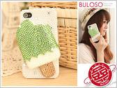《不囉唆》手工綠色貼鑽雪糕珍珠+奧地利水鑽 Iphone 4 4s保護殼 背蓋【Y244602】