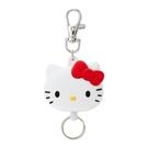 小禮堂 Hello Kitty 造型矽膠伸縮鑰匙圈 易拉扣鑰匙圈 玩偶鑰匙圈 (白 大臉) 4550337-18938