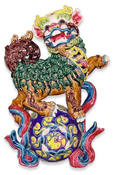 鹿港窯-居家開運商品-台灣國寶交趾陶~大戲球獅(雄霸天下)