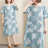 棉綢 文藝風印花洋裝-中大尺碼 獨具衣格 J2863