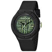 Reebok WarmUP Wallpaper時尚腕錶-綠x黑