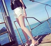 全館八折最後兩天-2018夏季新款磨破洞闊腿顯瘦 白色牛仔短褲女夏寬鬆 沙灘熱褲大碼