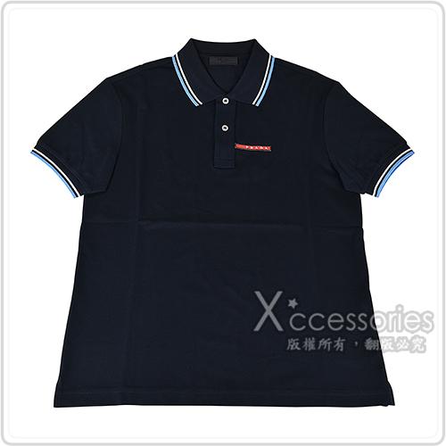 PRADA紅白橡膠LOGO藍白設計純棉短袖POLO衫(S/M/午夜藍)
