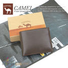 CAMEL卡梅爾駱駝真皮夾牛皮包短夾男夾-中翻固定12203-2咖啡