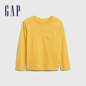 Gap男幼童 活力亮色圓領休閒長袖T恤 577619-金黃色