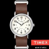 TIMEX 天美時 簡約數字咖啡皮帶錶x40mm米面 夜光冷光面板 TXT2P495 公司貨| 名人鐘錶高雄門市
