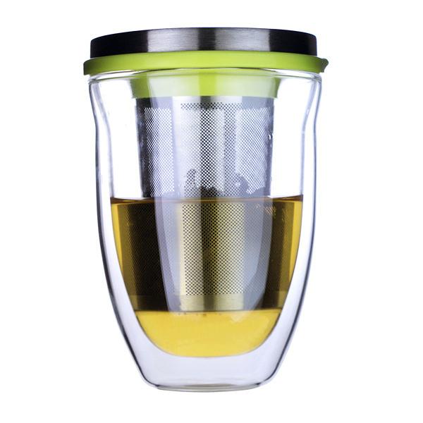 【超值送】iLoveGlass 雙層玻璃泡茶濾網蓋組 300ml 送防塵保溫杯蓋