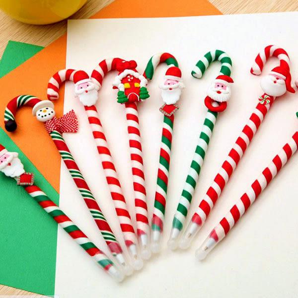 【BlueCat】聖誕節仿真線條拐杖糖陶藝原子筆