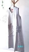 【貽湘坊 】夏裝--復古風V領盤扣口袋手繪荷圖騰棉布無袖洋裝連衣裙連身裙