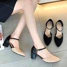 【41-43賣場】粗跟鞋.MIT韓風優雅繞踝拚色V口高跟尖頭包鞋.白鳥麗子