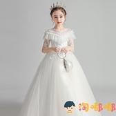 女童禮服高端蓬蓬紗花童婚禮兒童鋼琴演出服公主裙【淘嘟嘟】