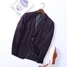 男裝秋薄款小西裝青年時尚優雅紫色修身帥氣男士單西外套【快速出貨】