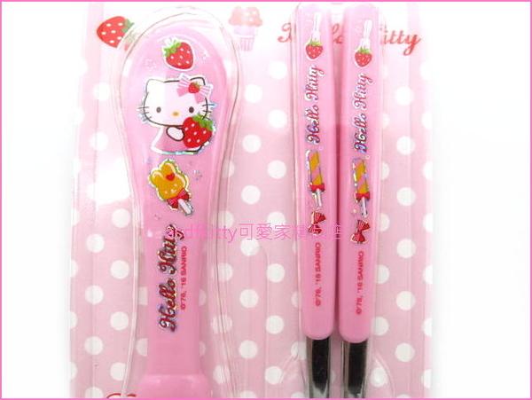 asdfkitty可愛家☆KITTY抱草莓粉紅色膠柄304不鏽鋼湯匙+筷子-韓國製