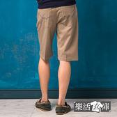 短褲★親膚百搭皮標繡線伸縮休閒短褲(卡其)● 樂活衣庫【8917】