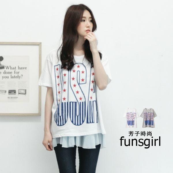 韓國直送。USA國旗圓領寬鬆棉質上衣-2色 ~funsgirl芳子時尚