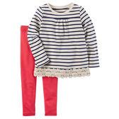 Carter's平行輸入童裝 女寶寶 長袖T恤上衣&褲子 深藍條紋【CA239G480】
