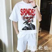 大尺碼運動套裝夏季短袖短褲男士休閒兩件套韓版寬鬆大碼跑步服套裝 DJ9781『美鞋公社』