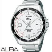 ALBA 運動星期顯示簡約鋼帶男錶x45mm白色・藍寶石水晶鏡面・公司貨・VJ43-X006S・精工副牌
