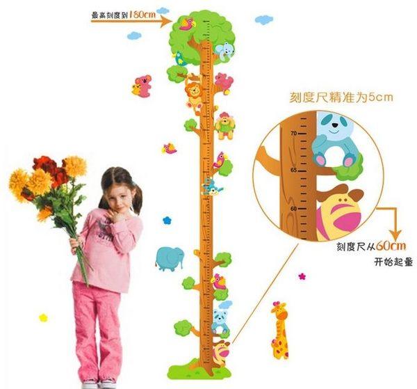預購 - 動物身高貼 兒童房裝飾身高貼 第三代可移除牆貼