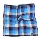 renoma paris 交錯格紋汽車路標圖文純棉帕領巾(藍色)989063-234