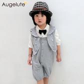 短袖套裝 兩件式 紳士禮服 馬甲 連身衣 男寶寶 小紳士 花童 喜宴 正式場合 爬服 哈衣 42091