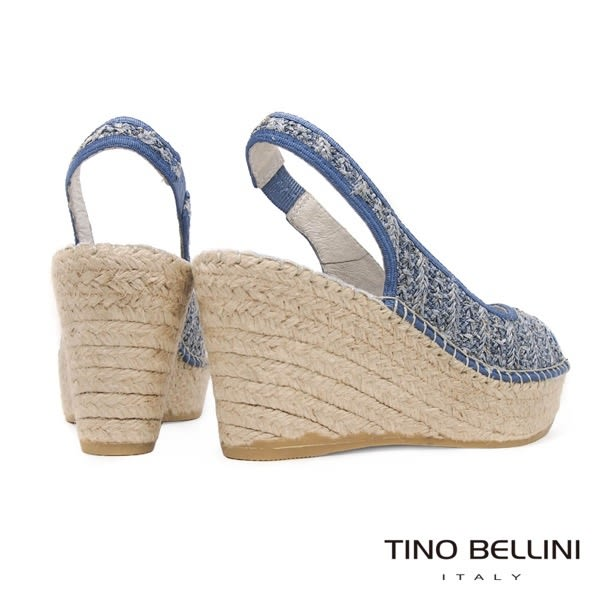 Tino Bellini 西班牙進口棉麻編織藝術魚口楔型涼鞋 _ 淺藍 A83017 歐洲進口款