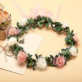 [橘白雙色玫瑰花 人造花髮帶 仿真花花圈 花冠假花環] 婚禮小物 生日禮物 求婚&畢業表演花禮