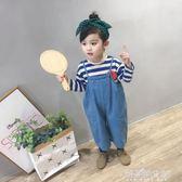 小童軟牛仔褲背帶褲子女童秋冬裝潮嬰兒0-1-2-3-8歲4寶寶解憂雜貨鋪