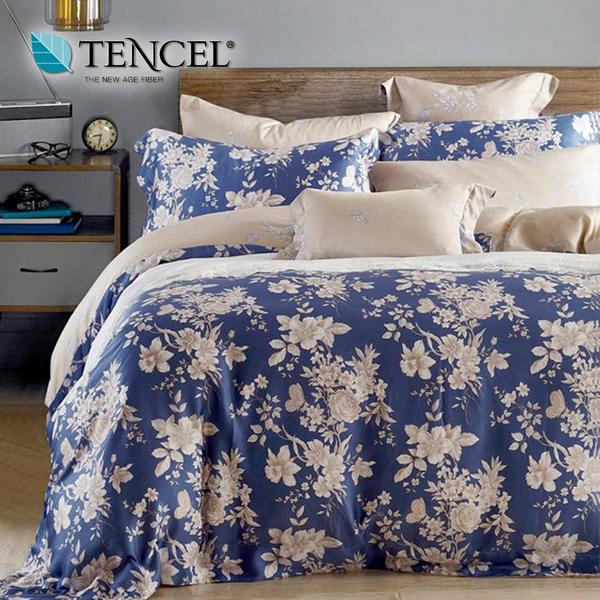 【貝淇小舖】TENCEL 頂級100%萊賽爾天絲《藍之夢》加大雙人七件式床罩組