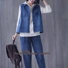 依多多 牛仔刺繡馬甲秋季新款文藝復古寬鬆百搭無袖上衣裝