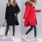 夾棉大毛領風衣女 冬季新款文藝胖mm顯瘦開衫不規則長袖連帽大衣潮 優惠兩天