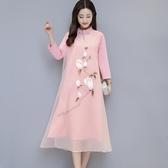 改良式旗袍 氣質民族風印花洋裝女裝復古立領盤扣禪服茶服長袖連身裙 KV2811 『小美日記』