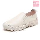 全真皮手工縫線超軟底舒適經典純色樂福休閒鞋 白 *MOM*