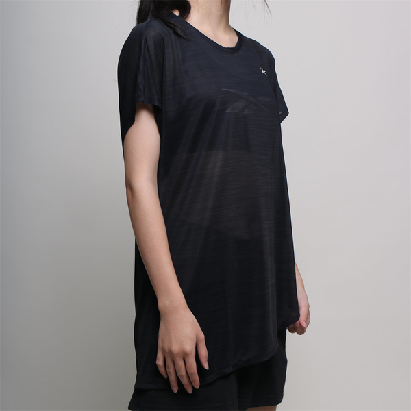 REEBOK 短T 短袖 ACTIVCHILL 黑 透氣 不規則下擺 訓練 女 (布魯克林) FK6760